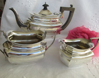 Teaset - Sterling Silver - English - William Davenport - Birmingham England - Teapot - Creamer - Sugar - Hall Marked - Antique