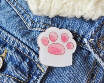 White Cat Paw Kitten Kitty Cat Lady Pin Badge Brooch