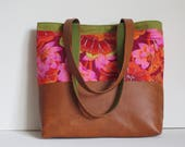 The Avery Tote: lovely Kaffe Fassett flower fabric with vegan leather in tobacco color