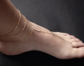 Gold Double Chain Anklet - gold anklet, gold filled anklet , gold chain anklet, gold ankle bracelet, dainty anklet, gold layered anklet