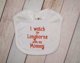 Texas Longhorns Football Embroidered Baby Bib - Texas Longhorns Baby Girl - Longhorns Baby Boy - Texas Longhorns Bib - Gift for Dads