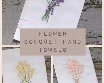 Floral Linen Hand Towels, Embroidered Hand Towel, Mother's Day Gift