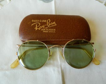 Vintage Rare , Panto  Gold Filled Eyeglasses Frame Made in England.With B&l Ray Ban Clip on sunglasses 1-10 -12kgf. Made in USA