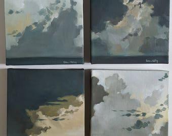 Dramatic Clouds Sky Series- Set of 4- Original Landscape Oil Paintings- Small Minimalist Skyscape Art- Impressionist Dark Home Decor
