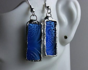 Stained Glass Earrings, Blue Textured Glass Earrings, Stained Glass Jewelry, Stained Glass Jewelry,Wearable Art