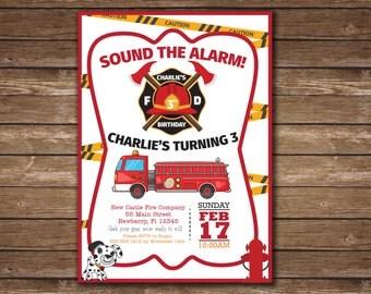 Firetruck and Dalmatian Sound the Alarm 3rd Birthday Party Invitation  - Printable