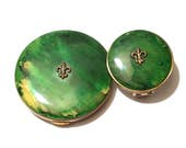 Vintage Green Fleur De Lis Mirrored Powder Compact With Matching Mirrored Lipstick Holder