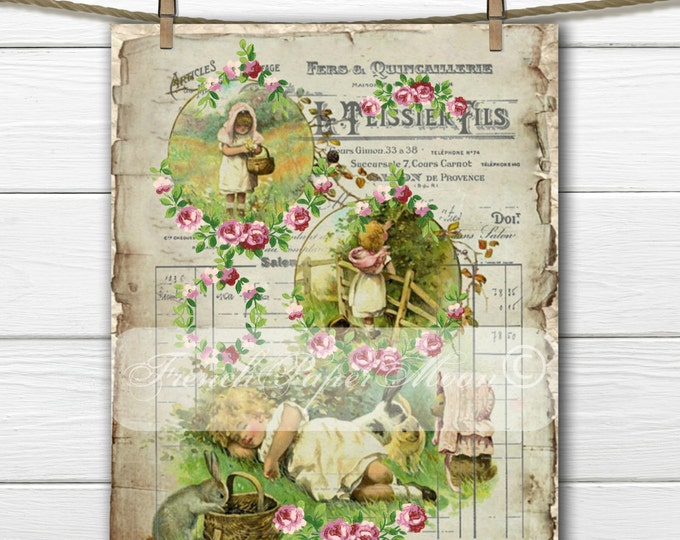 Shabby Victorian girl with Vintage Easter Bunnies, Vintage Easter Pillow transfer, French Graphics, Transfer Download