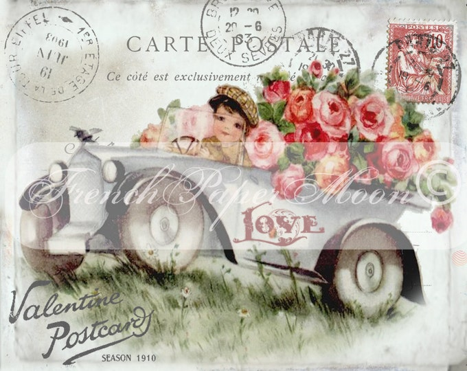 Shabby Chic Digital Valentine Postcard, Vintage Auto, Car, Roses, French Valentine Transfer, Valentine Pillow Digital Image