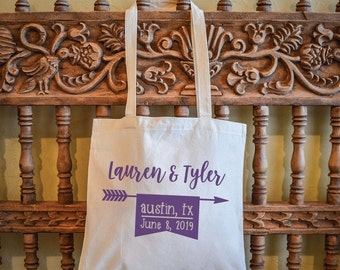 Personalized Wedding Banner Canvas Bag, Custom Wedding Tote Bags, Personalized Canvas Tote, Custom Canvas Welcome Bags