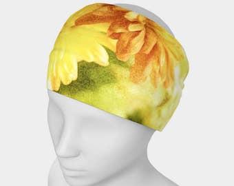 Women's Wide Fabric Headband, Neck Scarf, Headwrap, Workout Headband, Functional Art, Photo Headband, Fashion Art, Floral Headband, Yellow