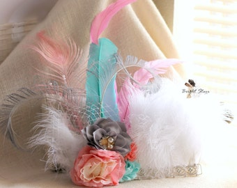 Birthday headband - Tea party headband - elegant headband - feather headband - white headband - feather crown - birthday crown