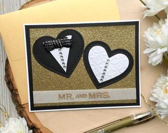 Gold Wedding Card, Handmade Wedding Card, Mr and Mrs, Hearts, Greeting Cards, Handmade Card, Wedding, Wedding Dress, Tuxedo, Gold Foil