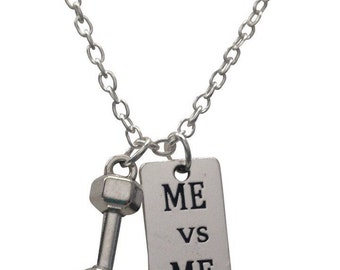Dumbbell Me vs Me Fitness Necklace By Thimbleful Threads