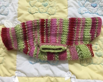 Pink and green stripy pet sweater
