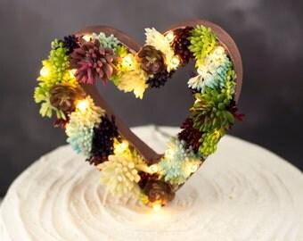 Light up heart cake topper | Succulent cake topper | Light up cake topper | cake accessories | marquee lights