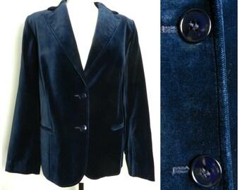 70s COTTON velvet midnight navy blue jacket blazer glam rock u.k. 14 - 16 M