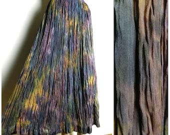 80s 90s NEW VISCOSE ADINI tie dye crinkle gauze maxi skirt mauve purple green gold u.k. 12 - 14 M