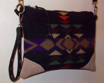 Native American Leather Bag Purse Clutch Cosmetic Bag Leather Tote