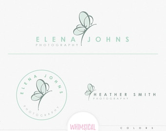 Boutique Butterfly Logo- Premade Photography Logo and Watermark, Classic Elegant Script Font GOLD GLITTER butterfly children Calligraphy