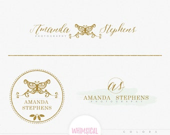 Butterfly Tattoo Logo - Premade Photography Logo and Watermark, Classic Elegant Script Font GOLD GLITTER butterfly children Calligraphy