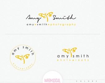 Cute Dragonfly Signature Logo- sketchy style branding kit, artistic dragonfly logo, feminine photography logo kit, fully customized logo