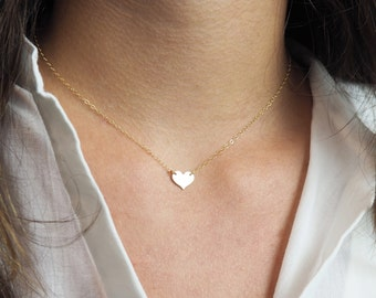 Gold Heart Necklace, Gift For Her