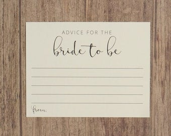 Advice for the Bride To Be - Bridal Shower Advice Cards - Wedding Shower Game - Pink, Cream, Neutral