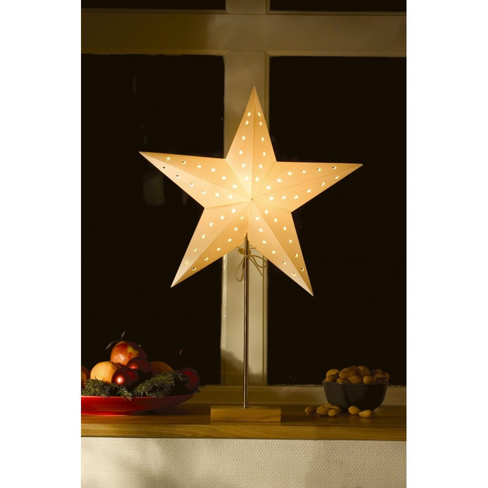 Star lantern 24 star paper lantern ivory lantern for Paper star lamp