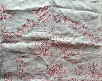 Antique Homespun Linen Layover Pillow Sham Cover w/Turkey Red Embroidered Good Morning // water lily, bird, sun, cattails, butterfly