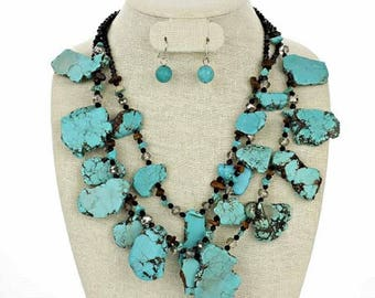 gorgeous slab turquoise multiple strands necklace and earrings