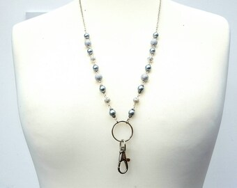 id badge beaded lanyard glasses chain holder silver beads key ring