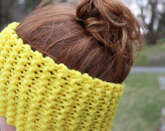 Set of 2 Chunky Headbands - White and Yellow Pair - Hand Knitted Earwarmers - Chunky Knit Hairband Set - Knitted Bun Hats