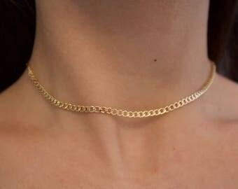 ZEP 2 CHOKER, gold choker, cuban link choker, choker chain