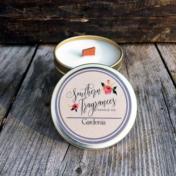Gardenia Soy Candle | 6oz Travel Size Soy Candle | Southern Fragrances | Flower Candle | Spring Candle | Wood Wick Candle | Floral Candle