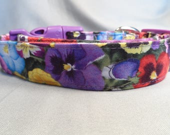 Pansy Dog Collar, Pink, Purple, Blue, Yellow, Red