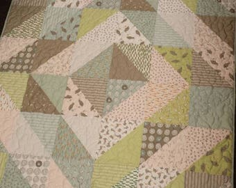 Easy Baby Quilt Kit from a Layer Cake, Sheep, Peas, Carrots, Bears and Bumble Bees