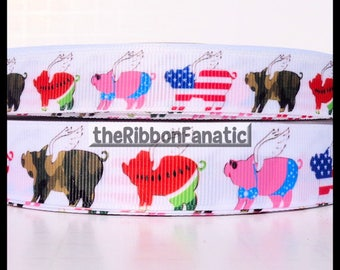 """5 yds  5/8"""" and 7/8"""" Pigs Flying When Watermelon Camo Stars and Stripes Pink Grosgrain Ribbon"""