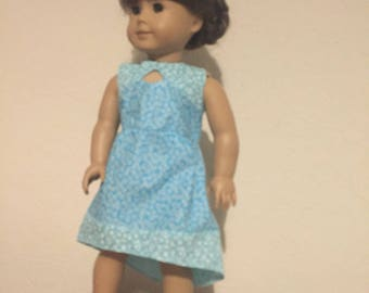 Keyhole Dress for 18 inch dolls / American Girl Doll / Hi-lo Hem / Blue / Floral Pattern