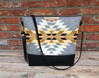 Portland Wool and Black Leather  Cross body, Crossbody Purse, Crossbody Bag, Leather Crossbody, Messenger Bag, Wool Purse,