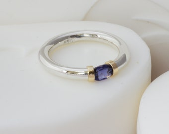 Iolite Silver and Gold Tension Ring