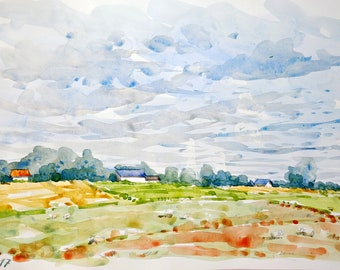 Normandy landscape original watercolor painting countryside normandy decor wall home france decor original landscape wall france french art