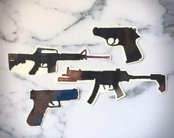 Guns Rifles Temporary Tattoos Temp Hardcore Edgy Weapons Arsenal Long Handgun Pistol Sub Machine AR15 M4