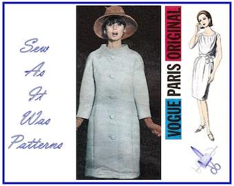 "1960s Vogue Paris Original 1362 Guy Laroche Sleeveless Gathered Neckline Blouson Dress & Coat Vintage Sewing Pattern Size 16 Bust 36"" 92cm"