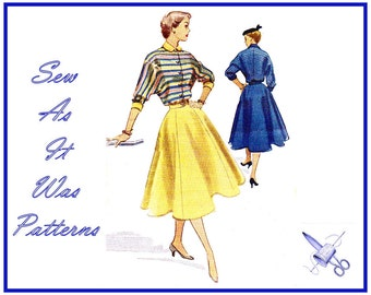 """1950s McCall's 9008 Two Piece Suit Dress Flared Skirt Front Buttoned Dolman Sleeve Bomber Jacket Top Vintage Sewing Pattern Size 16 Bust 34"""""""