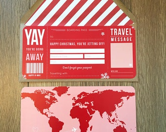 Christmas Boarding Pass with Map Infill