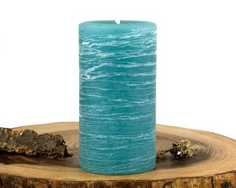 "Teal Pillar Candle - Rustic 3 x 6"" 3x9"" 4x6"" 4x9""  Rustic Home Decor - Turquoise Candles - Spring Summer Decor - Beach Decor - Hostess Gift"