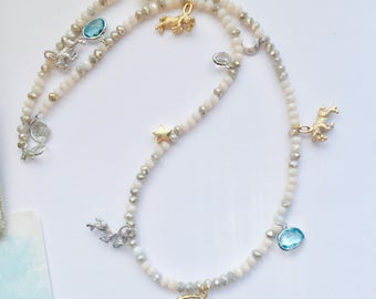 ARIES Starsign Necklace - Zodiac Necklace - Crystal Beaded Necklace With Charms and Birthstones