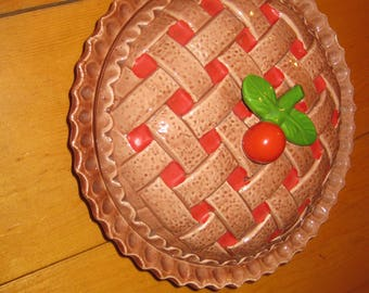 Vtg 10 in deep dish  Cherry Pie Dish Regalware of Portugal with lattice pie topper sweet dish handmade in Portugal