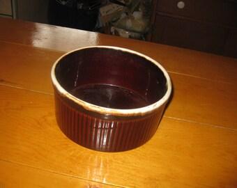 Vtg souffle dish pfaltzgraff #408 Brown Drip glaze great shape